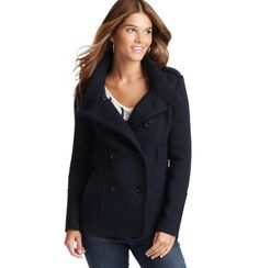 Ridged Wool Blend Pea Coat $148