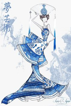 fashion illustration of chinese fashion designer Guo Pei's haute couture creation. watercolour and inks.