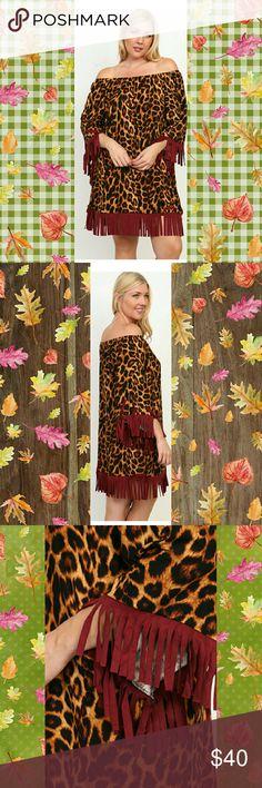OFF SHOULDER LEOPARD DRESS OFF SHOULDER QUARTER SLEEVE WITH FRINGED TRIM LEOPARD PRINT DRESS  COLOR: WINE Dresses