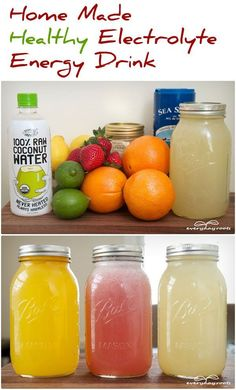3 Homemade Electrolyte-Rich Energy Drinks  Sweet and Smoothie recipe: 3 cups of coconut water 1 cup of strawberries 1 cup of fresh water 1 cup of ice 1/8 teaspoon of sea salt 2 tablespoons natural sugar or honey, to taste Abdominal Pain, Energy Drinks, Cantaloupe, Mason Jars, Homemade, Fruit, Healthy, Food, Eten
