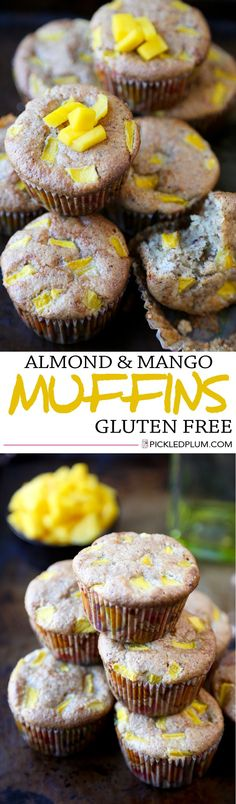 Gluten Free Recipe - Almond and Mango Muffins. These muffins are light, crumbly, moist and slightly sweet! They're also very easy to make! http://www.pickledplum.com/almond-mango-muffins-recipe/