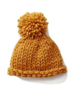 This chunky hat makes a great first project on double pointed needles. (Lion Brand Yarn)