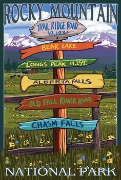 Rocky Mountain National Park, Colorado - Trail Ridge Road, Sign Destinations - Lantern Press Poster