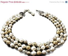 ON SALE Multi Strand Necklace Pearl Antiqued by EclecticVintager, $12.80