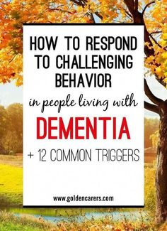 Challenging behavior is common in people living with dementia and is considered one of the most difficult issues facing staff in residential care and caregivers at home. It is important to try and understand why the person is behaving in a particular way Dealing With Dementia, Living With Dementia, Alzheimer's And Dementia, Dementia Care, Vascular Dementia, Dementia Quotes, Dementia Crafts, Dementia Symptoms, Nursing Home Activities