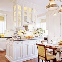 gorgeous white kitchen. Love the cabinets