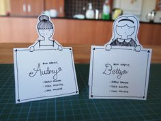 DIY Place Cards with hand drawn characters - instead of menu, add adjectives about the individual?