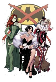 Gotham city sirens in vintage clothes. Poison Ivy, Catwoman and Harley Quinn. Batgirl, Nightwing, Batwoman, Gotham City, Marvel Vs, Marvel Dc Comics, Catwoman Cosplay, Comic Book Characters, Comic Character