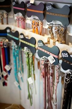 really cute collar and leash display! - Pet World Dog Grooming Shop, Dog Grooming Salons, Dog Grooming Business, Poodle Grooming, Pet Store Display, Pet Hotel, Pet Resort, Dog Salon, Pet Boutique