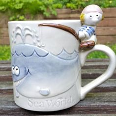 c4d012dfa2002 Items similar to Vintage 1982 Sea World Blue Whale Boy Fishing Mug Coffee  Cup Japan 4 inches Tall on Etsy