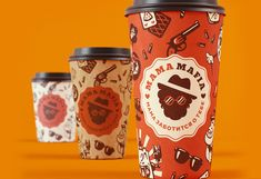 Mama Mafia is a delivery service that specializes in Italian and Japanese cuisines.Te task was to develop branding and packaging design using characters and patterns that should 'speak' about the two kinds of cuisine provided by the service. Coffee To Go, Coffee Shop, Mafia, Cake Boxes Packaging, Packaging Design, Branding Design, Pizza Branding, Food Truck Design, Food Tasting