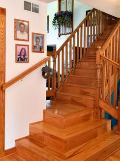 Hand-crafted wooden stairway in the House of the Week.