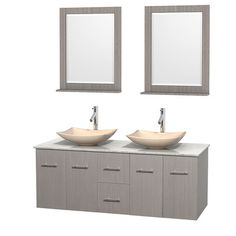 "Centra 60"" Double Gray Oak Bathroom Vanity Set with Mirror Top Finish: White Carrera Marble, Sink Finish: White Porcelain - http://bathroomvanitiespot.com/centra-60-double-gray-oak-bathroom-vanity-set-with-mirror-top-finish-white-carrera-marble-sink-finish-white-porcelain-668148419/"