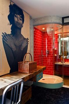 red shower Quirky hotel room