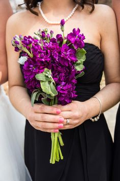 Bridesmaid's bouquet, all purple (maybe White)stock with geranium leaf accent Nate Vandlen Photography, Bel-Fiori's Rose Shoppe, erflorist.com
