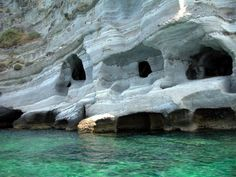 Caves in Milos Island Aegean sea Places Around The World, Oh The Places You'll Go, Great Places, Places To Travel, Beautiful Places, Places To Visit, Around The Worlds, Amazing Places, Greece Travel