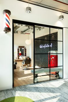 The barber shop. Barber Shop Interior, Hair Salon Interior, Barber Shop Decor, Salon Interior Design, Home Salon, Salon Design, Interior And Exterior, Best Barber Shop, Barbershop Design