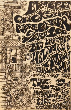Big Brother and the Holding Company . Benefit held for Lick-Wilmerding High School at the Avalon Ballroom . Psychedelic Typography, Psychedelic Music, Psychedelic Posters, Vintage Concert Posters, Vintage Posters, Rock Posters, Music Posters, Psy Art, Hippie Art