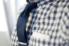 plaid + tie + tie clip