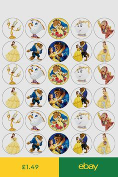 Belle Beauty And The Beast Edible Cupcake Toppers Wafer Paper Fairy Cake Topper Toy Story Cake Toppers, Toy Story Cakes, Beauty And The Beast Party, Belle Beauty And The Beast, All Disney Princesses, Edible Cupcake Toppers, Ballerina Cakes, Baby Animals Pictures, Disney Art
