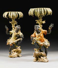A pair of Italian polychrome lacquered blackamoor figures, Venetian, 18th century.