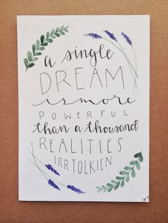 hand lettered JRR Tolkien quote on Etsy, $8.50