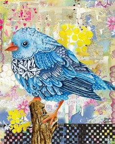 Items similar to Art Print. Flowerly Serene Sophia (Happy Days Edition) on Etsy Fabric Birds, Fabric Art, Vogel Quilt, Paper Collage Art, Bird Quilt, Animal Quilts, Bird Crafts, Sewing Art, Bird Art