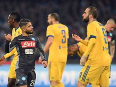 Player of SSC Napoli Lorenzo Insigne and Juventus player Gonzalo Higuain yelling at each other during the Serie A match between SSC Napoli and Juventus at Stadio San Paolo on December 1, 2017 in Naples, Italy.