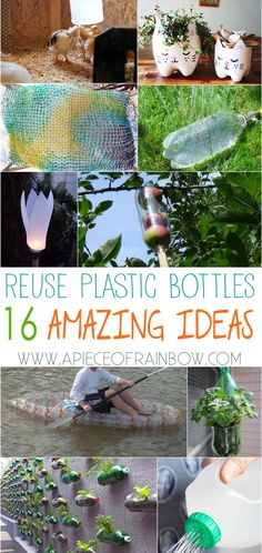 DIY to Reuse Plastic Bottles You may never look at plastic bottles the same way again! 16 ingenious ways to reuse plastic bottles to make amazing useful things for our home and garden! Reuse Plastic Bottles, Plastic Bottle Crafts, Soda Bottle Crafts, Plastic Bottle Greenhouse, Plastic Recycling, Garden Crafts For Kids, Reuse Recycle, Recycled Crafts, Recycled Tires