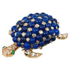 Tiffany and Co. Lapis and Diamond Turtle Brooch at 1stdibs