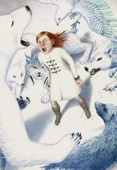 """Julia Griffin illustration for """"The Snow Queen""""...this is me raging at the cold when it interrupts this glorious Spring."""