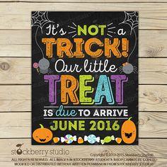 Halloween Pregnancy Announcement Chalkboard Sign Printable