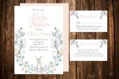 Bunny Baby Shower Invitation Printable, Printable Pink Girl Baby Shower Invitation, Floral Wreath Invite, Rabbit Baby Shower Invitation by PeonyBlushDesigns on Etsy https://www.etsy.com/listing/514128883/bunny-baby-shower-invitation-printable