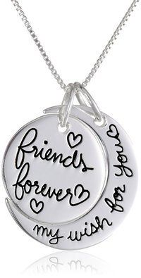 """Hand Stamped Silver Tone Necklace """"Friends Forever My Wish For You"""""""