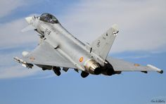 Spanish Air Force Eurofighter Typhoon II. Spain are sending four to the Ukraine along with a Boeing 707 of the Ejercito del Aire and two frigates, in line with the NATO reassurance mission to eastern Europe in light of the Russian invasion of Ukraine.
