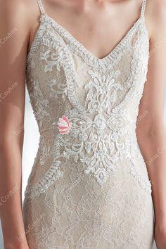 e5d5e6c2f0154 Modern Champagne Spaghetti Strap Beaded Lace Mermaid Wedding Dress with Sweep  Train