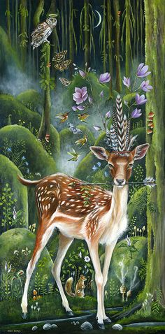 by Janie Olsen, Acrylic Art And Illustration, Illustrations, Art Amour, Art Fantaisiste, Deer Art, Fantasy Kunst, Painting Gallery, Inspiration Art, Animal Totems
