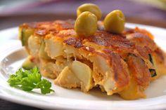 Tortilla vegana de papas, zucchini y tomate en HazteVegetariano.com