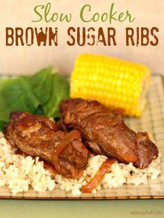 5-Ingredient Slow Cooker Brown Sugar Ribs #crockpot #pork