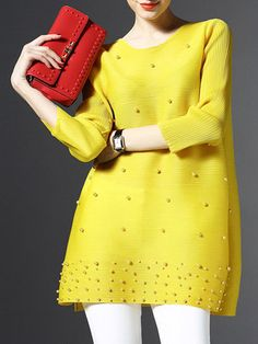 Yellow 3/4 Sleeve Polyester Plain Tunic