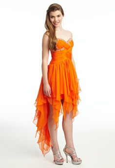 Camille La Vie criss-cross shirred chiffon bodice with a beaded strapless sweetheart neckline and a hi-low hanky hem skirt. Orange Prom Dresses, High Low Prom Dresses, Prom Dresses 2015, Orange Dress, Short Dresses, Formal Dresses, Wedding Dresses, Strapless Sweetheart Neckline, Prom Looks