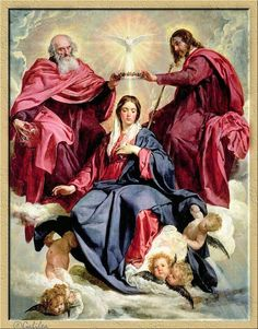 The Coronation of Mary as Queen of Heaven and Earth - Coronation Of The Virgin by Diego Velazquez Spanish Painters, Spanish Artists, Blessed Mother Mary, Blessed Virgin Mary, Catholic Art, Religious Art, Immaculée Conception, Diego Velazquez, Catholic Pictures