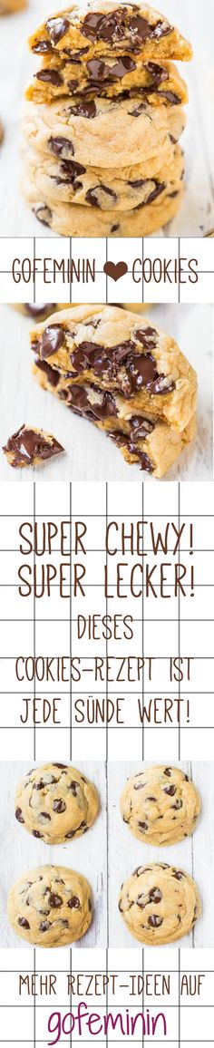 Super chewy, super tasty: this cookie recipe is every sweet Super chewy, super lecker: Dieses Cookies-Rezept ist jede Sünde wert! Super chewy, super tasty: this cookie recipe is worth every sin! Chocolate Cookie Recipes, Easy Cookie Recipes, Chocolate Chip Cookies, Sweet Recipes, Baking Recipes, Healthy Chocolate, Cookie Desserts, Chocolate Desserts, Cake Mix Recipes