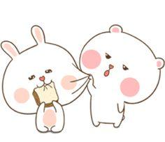 TuaGom : Puffy Bear & Rabbit by Tora Jung sticker Cute Bear Drawings, Cute Little Drawings, Cute Cartoon Pictures, Cute Love Pictures, Cute Anime Chibi, Kawaii Chibi, Cute Wallpaper Backgrounds, Cute Cartoon Wallpapers, Kawaii Stickers