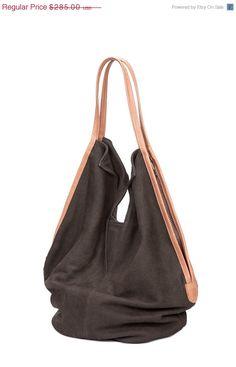 Dark Ash Grey Soft Leather Bag leather tote bag door LadyBirdesign