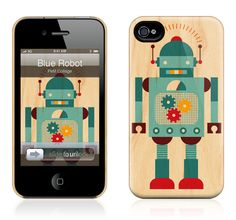 Blue Robot by Petit Collage for the iPhone 4S, 4 HardCase