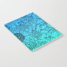 Flower Zen: Blue-Green Fade Notebook