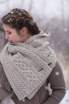 Knitted Shawls, Crochet Shawl, Knit Crochet, Aran Weight Yarn, Cozy Scarf, Scarf Knit, Knit Scarves, Shawl Patterns, Cable Knitting Patterns
