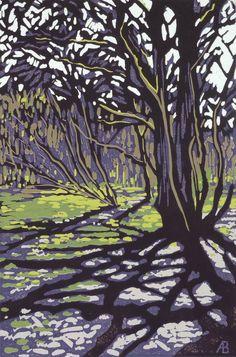 Tree Casts Shadow, Linocut by Alexandra Buckle | Artfinder