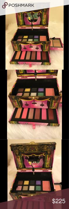 NWOB 🎼 Discontinued Too Faced Makeup Music Box 🎼 NWOB This is a Makeup Music Box by Too Faced this has since been discontinued. It's called World Domination All Access Backstage Beauty Collection. As you can see in pics 1 & 7, it is a genuine music box, complete with a ballerina that dances to the music, after you wind the box up. It contains: 8 eyeshadows, Brow Powder, Eye Liner Powder, Blush Powder, Shimmer Powder, Bronzer Powder, & 6 lipglosses. And, all the Makeup is removable, with…